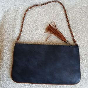 Chico's navy blue faux leather suede handbag